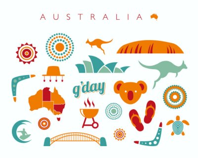 Sticker Australia icon set - Vector illustration