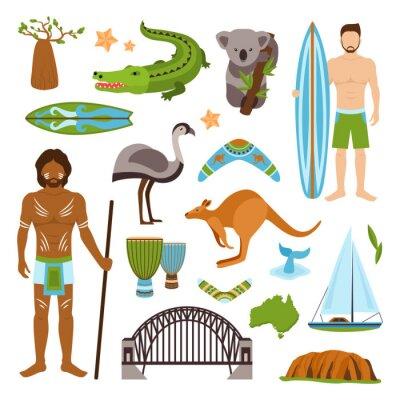 Sticker Australia Icons Set