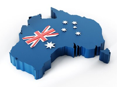 Sticker Australia map and flag