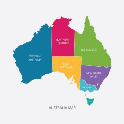 Sticker AUSTRALIA MAP COLOR WITH REGIONS flat design illustration vector