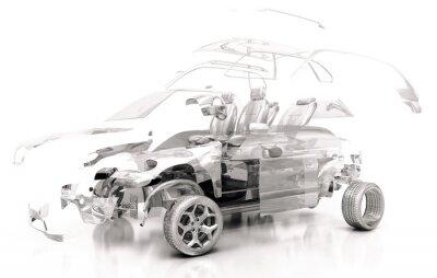 Sticker Auto Trasparente, Componenti, progetto 3d, tuning, motori