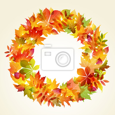 Sticker Autumn backgroun. Wreath of leaves