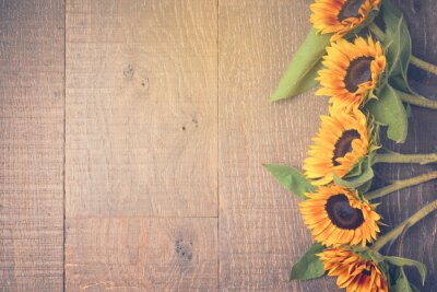 Sticker Autumn background with sunflowers. View from above. Retro filter effect