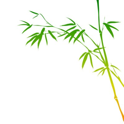 Sticker background with bamboo branches