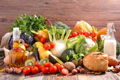 Sticker balanced diet food concept
