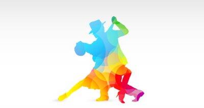 Sticker ballerini di tango, colori, fantasia, danza, ballerini, tango