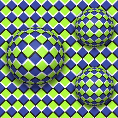 Sticker Balls roll down. Abstract vector seamless pattern with optical illusion of movement.
