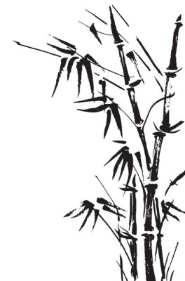 Sticker Bamboo branches isolated on the white background. Vector