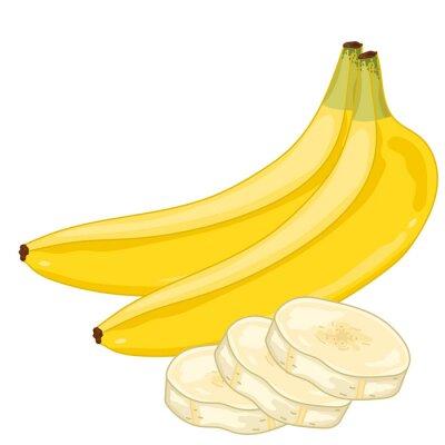 Sticker Banana Isolated on white background.