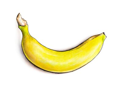 Sticker Banana isolated on white background. Watercolor illustration. Tropical fruit