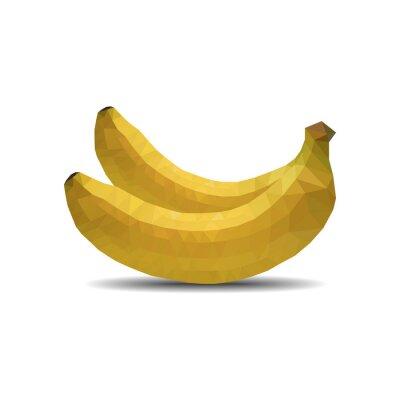 Sticker banana polygon on white background isolate vector illustration eps 10