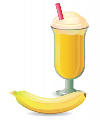 Sticker Banana shake with straw vector
