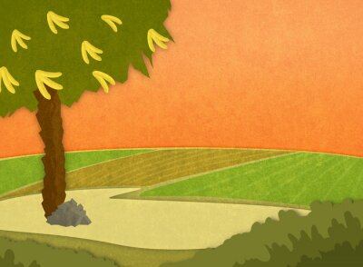 Sticker Banana tree with bananas in the meadow at sunset. Cartoon stylish background raster illustration.