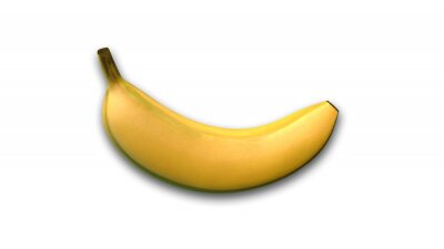 Sticker Banana, tropical fruit isolated on white background, side view
