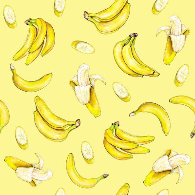 Sticker Bananas on a yellow background. Seamless pattern. Watercolor illustration. Tropical fruit. Handwork