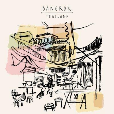 Sticker Bangkok Thailand hand drawn postcard