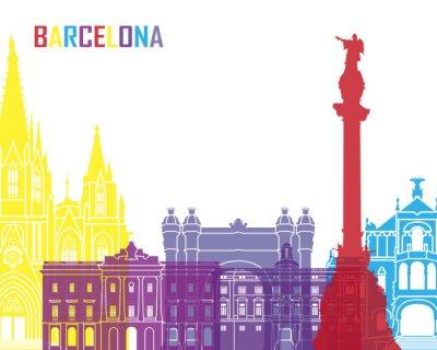 Sticker Barcelona skyline pop