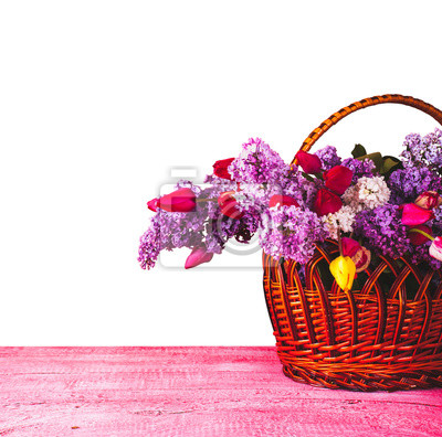 Sticker Basket with lilac and tulips