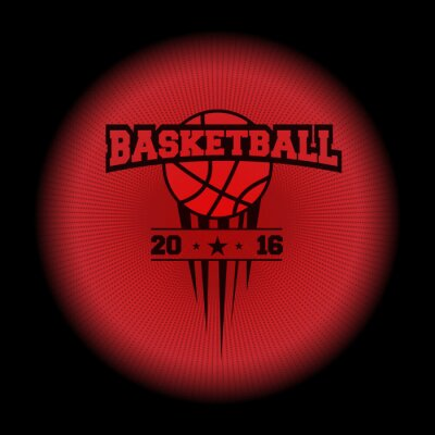 Sticker basketball, a sports logo. the emblem appearing out of the darkness. Perfect on your black shirt! vector