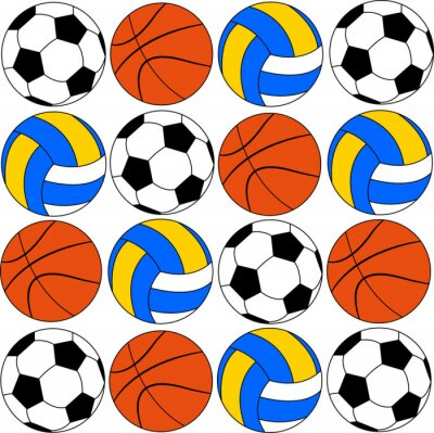 Sticker basketball icons footballs and volleyballs