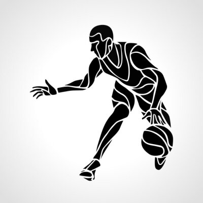 Sticker Basketball player abstract silhouette