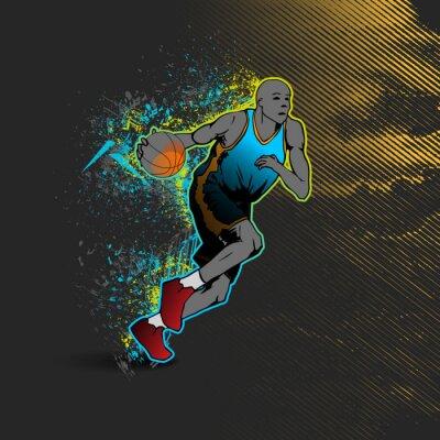Sticker Basketball player dribbling the ball