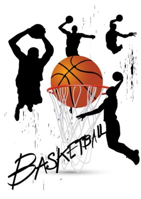 Sticker basketball player in posture jumping on white