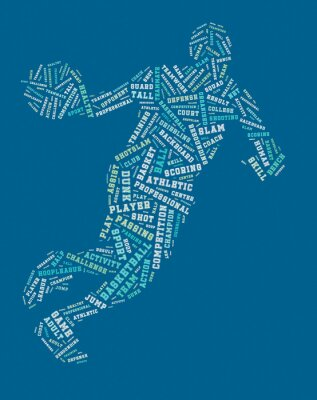 Sticker Basketball player word cloud, basketball typography background