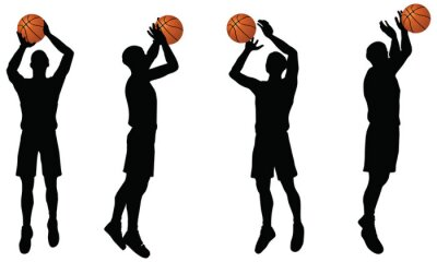 Sticker basketball players silhouette collection in shoot position