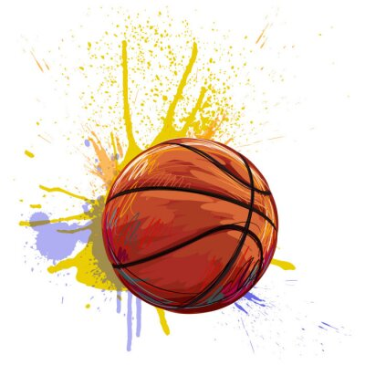 Sticker Basketball Created by professional Artist. This illustration is created by Wacom tabletby using grunge textures and brushes