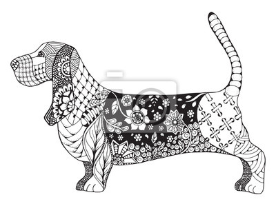 Sticker Basset hound zentangle stylized, vector, illustration, freehand pencil, hand drawn, pattern. Zen art. Ornate vector. Lace.