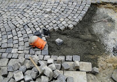 Baustelle,Handwerk,Strassenbau,Pflasterung