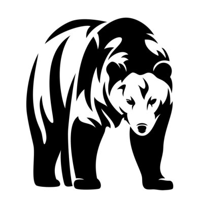 Sticker bear black and white design