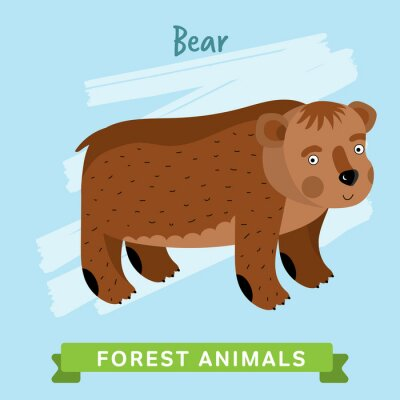 Sticker Bear raster. Wild and forest animals. Cartoon characters illustration. Funny Animal.