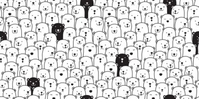 Sticker Bear seamless pattern vector polar bear breed scarf isolated cartoon illustration tile background repeat wallpaper doodle