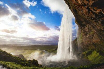 Sticker beautiful amazing landscape from Iceland, Seljandafoss waterfall