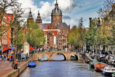 Sticker beautiful Amsterdam canals