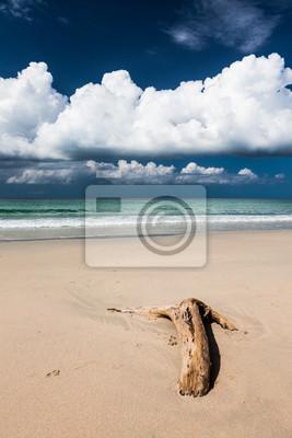 Sticker Beautiful beach and dark blue sky