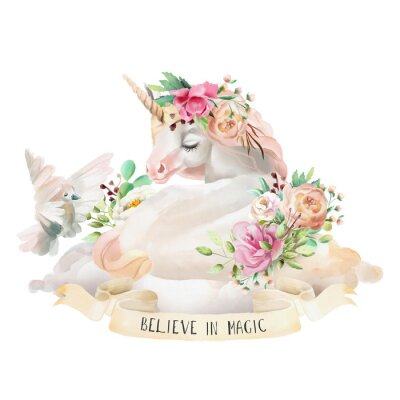 Sticker Beautiful, cute, watercolor dreaming unicorn on the cloud with flowers, floral bouquet, pigeon and ribbon with quote isolated on white