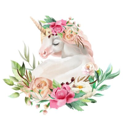Sticker Beautiful, cute, watercolor dreaming unicorn with flowers, floral bouquet isolated on white