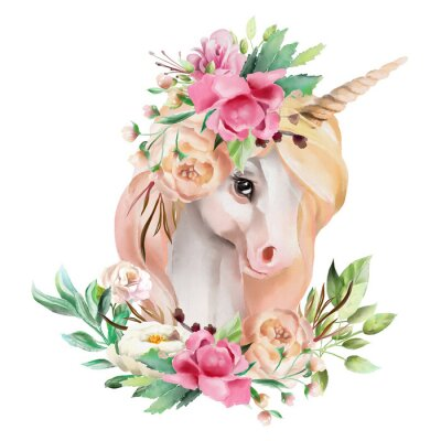 Sticker Beautiful, cute, watercolor unicorn head with flowers, floral crown, bouquet isolated on white