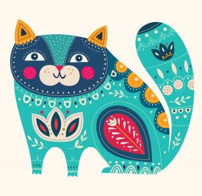 Sticker Beautiful decorative vector cat in blue color