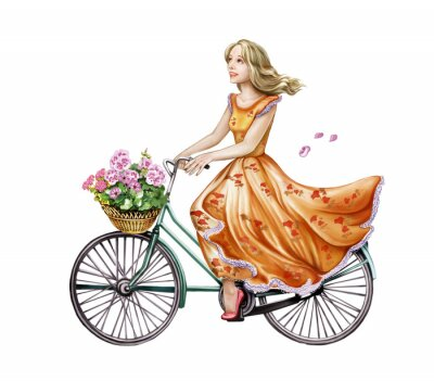 Sticker beautiful girl in a dress on a bicycle