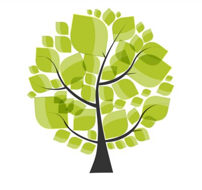 Sticker Beautiful Green Tree on a White Background Vector Illustration.