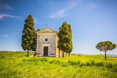 Sticker Beautiful landscape with chapel in Tuscany, Italy