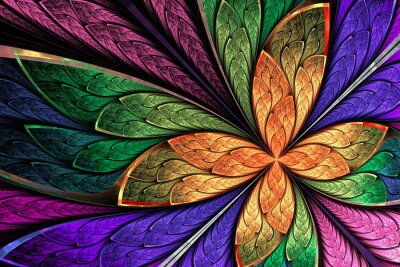Sticker Beautiful multicolored fractal flower or butterfly in stained gl