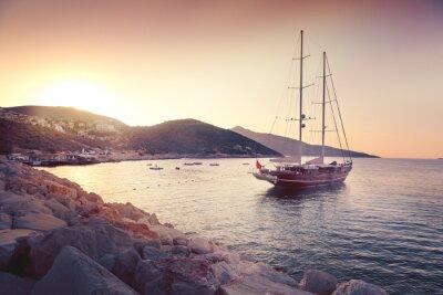 Sticker beautiful seascape with big sailing boats