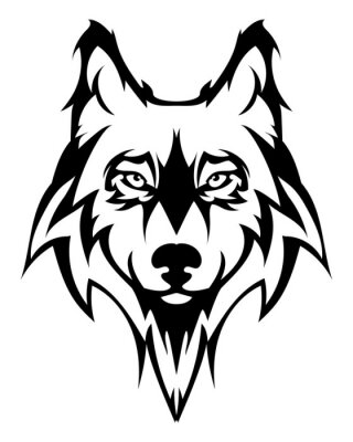 Sticker Beautiful wolf tattoo.Vector wolf's head as a design element on isolated background