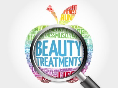 Sticker Beauty Treatments apple word cloud with magnifying glass, health concept