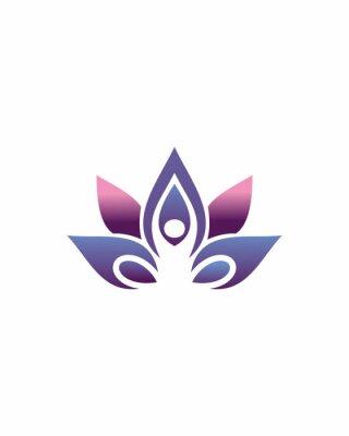 Sticker Beauty Vector Lotus flowers design logo Template icon